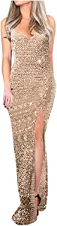 Zzbeans Summer Kleid Damen V Ausschnitt Pailletten Abendkleid Lang Ärmellos Ballkleid Lang Sexy Kleid mit Schlitz
