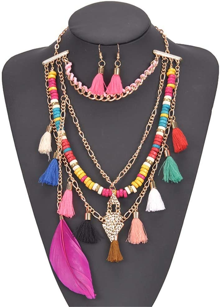 Urns Ashes Funeral Women's Jewelry Set Womens Fancy Bohemian Handmade Beads Long Pendant Neckle And Earrings Jewelry Set Neckle Earrings Set Wedding (Color : Multi-colored, Size : Free size),Size:Free