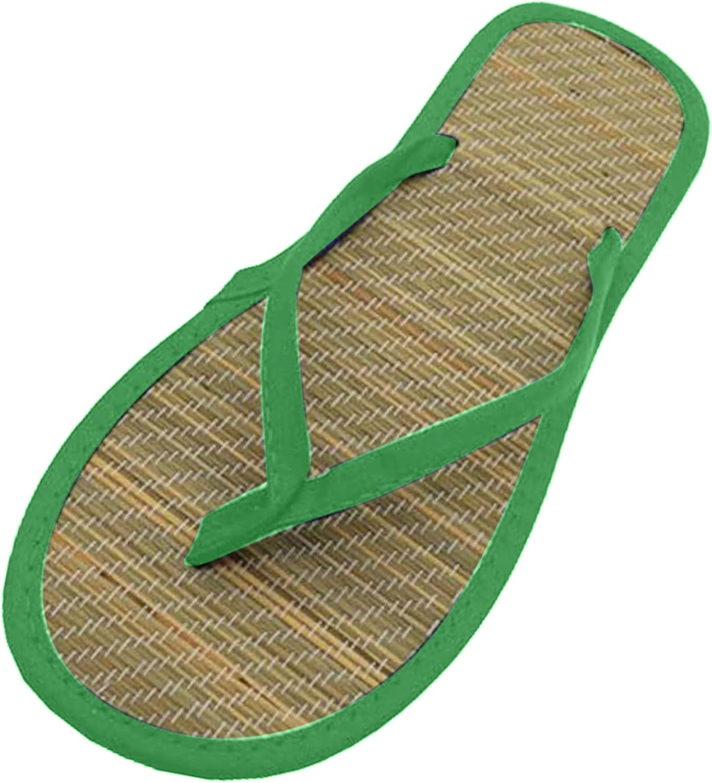 ZiSUGP Women Flat Slippers Comfortable Non-Slip Sandals Silent Bamboo Rattan Flip Flop