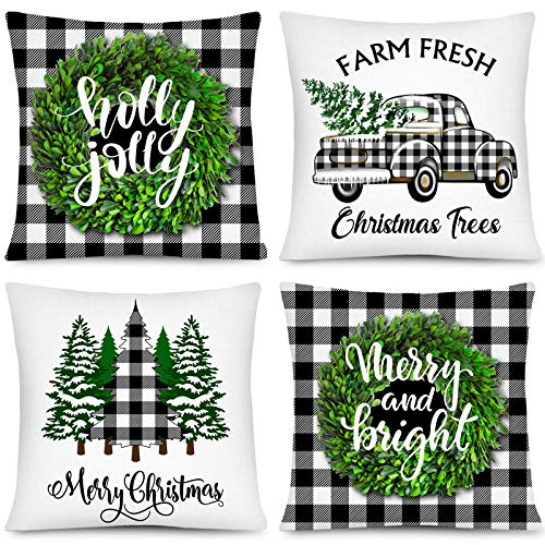 Whaline Christmas Pillow Case White Black Plaid Pillow Cover Xmas Tree Wreath Truck Pattern Cushion Cases Merry Christmas Throw Cushion Cover for Home Office Sofa Bed Party Decor, 4Pcs, 18' x 18'