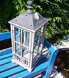 Beo Wunderschöne graue Holz Laterne mit Kuppeldach aus Metall 68 cm !!! 10012