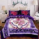 JML Sherpa Flannel Blanket, 3-Piece Fleece Blanket King with Pillow Shams- Soft, Warm, Korean Style Printed Embossed Bed Blanket, Purple