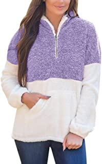 Yskkt Plus Size Sherpa Pullover Womens Sweatshirt Half Zip Fuzzy Fleece Jacket Winter Coat Outwear with Pockets - Purple - 3X-Large
