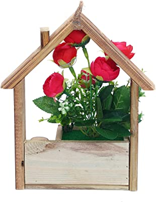 Anna Homey Decor Potted Artificial Flower Red Rose Flowers Arrangements in Wooden House Shape Pot Fake Silk Green Plants Lifelike Bonsai for Table Room Decoration