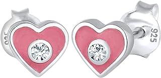 Elli 0303591317 - Pendientes infantiles de plata 925 con esmalte y cristales de talla brillante