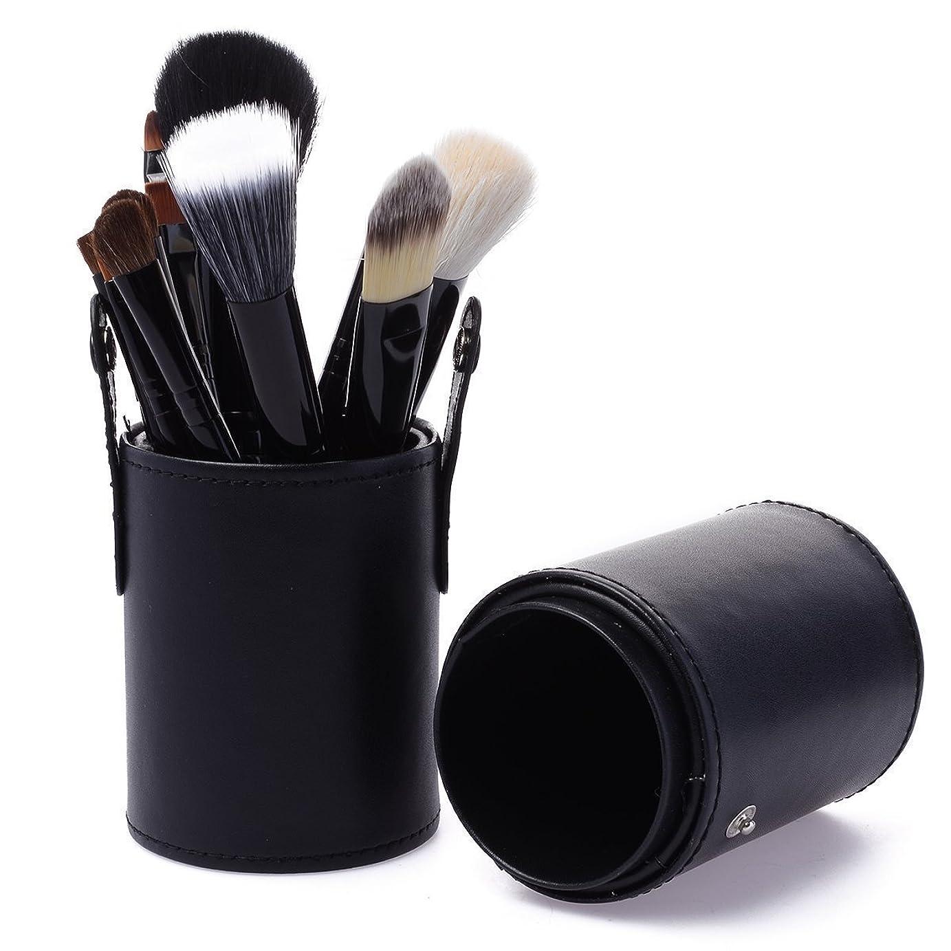 プラカード突然攻撃的KanCai プロのメイクブラシ 化粧筆12本セット コスメ ブラシ お肌に柔らかい メイクブラシセット 筒型収納ケ (ブラック)