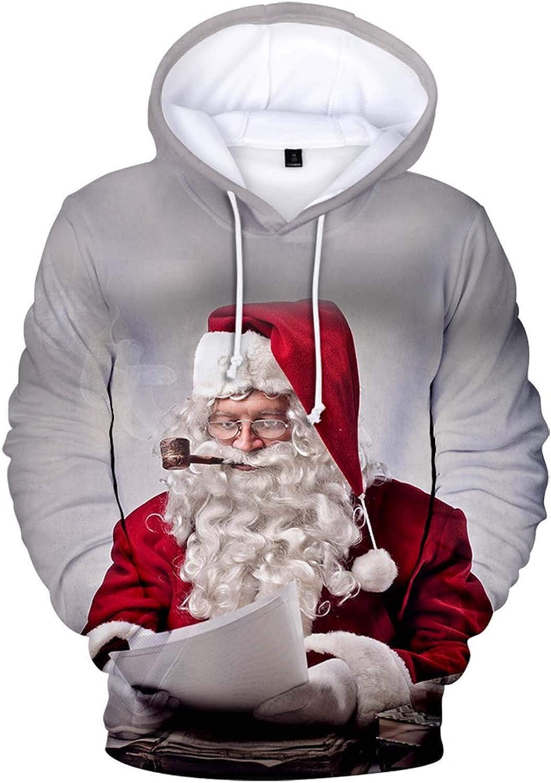 NREALY Men Christmas 3D Printed T Shirt Hooded Sweatshirt Tops Blouse