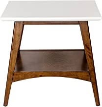 Madison Park MP120-0095 Parker End Tables - Solid Wood, Two-Tone Finish with Lower Storage Shelf Modern Mid-Century Accent Living Room Furniture, Medium, White/Pecan
