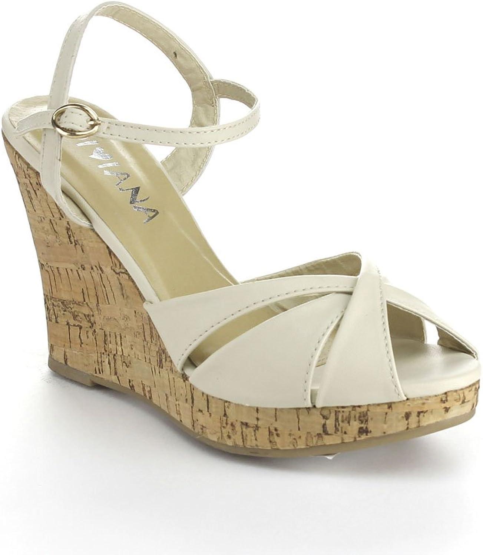 Diviana Kealie-29 Womens Criss Cross Cork Platform Ankle Strap Wedge Sandals