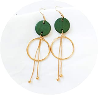 Hyperbole Wooden Two Big Round Circle Drop Dangle Earrings Gold Geometric Party Long Pendents