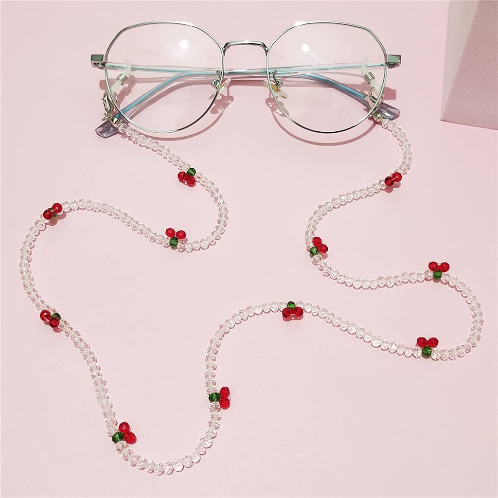 NJBYX Crystal Cherry Glasses Chain Cute Transparent Beads Pear Chain Neck Straps Sunglasses Lanyard Women Jewelry (Color : A, Size : Length-70CM)