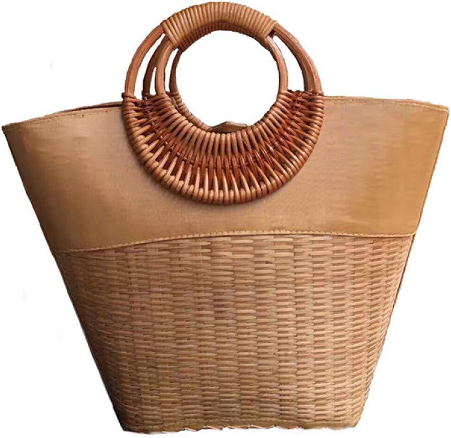 Circle Wooden Handle Knitted Handbags Summer Fashion Straw Bags for Women Drawstring Beach Totes