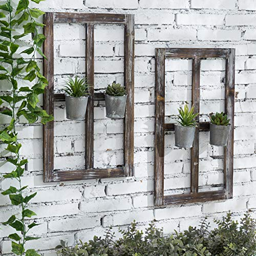 MyGift 25-inch Rustic Torched Brown Wood Window Frame Design Wall Mounted Decor with Vintage Galvanized Metal Planter Pots, Set of 2
