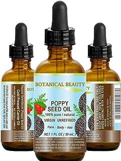 POPPY SEED OIL Papaver Somniferum 100% Pure Natural VIRGIN UNREFINED Cold Pressed Anti Aging Vitamin E oil for Face, Skin,...