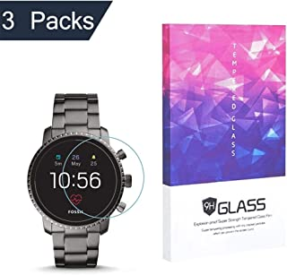 Tempered Glass Screen Protector BECROWM 9H Hardness Protective Glass Compatible with Fossil Q Explorist HR Gen 4,2.5D Full...