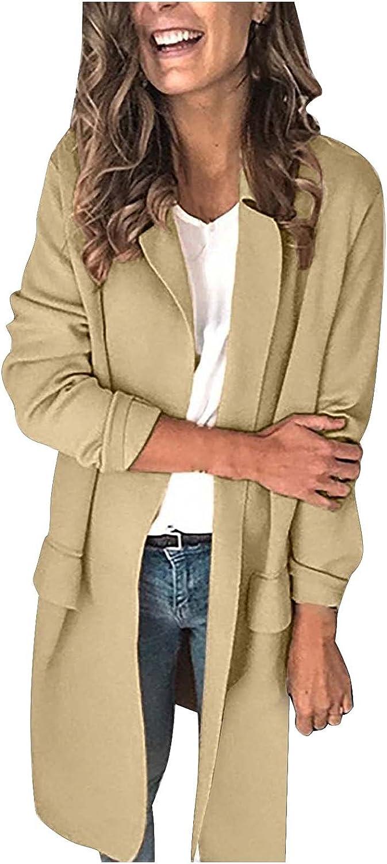Women's Classic Coat Open Front Coat Jacket Solid Color Lapel Coat Outerwear Warm Winter Casual Coat with Pocket