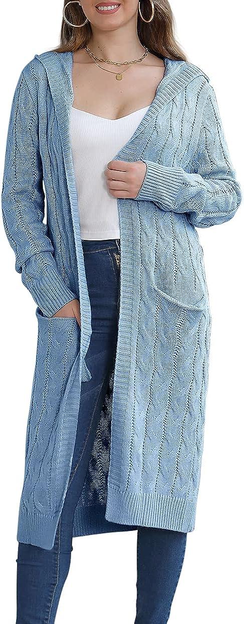GeGekoko Women's Long Hooded Cardigan Sweaters Open Front Long Sleeves Solid Pocket Chunky Knit Coats