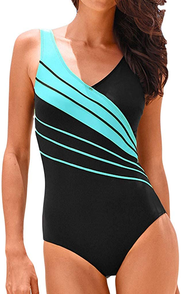 Forthery-Women Plus Size Bikini Prints Bikini One Piece Swimwear V Neck Monokini Modest Swimwear Tummy Control Swimsuit(Sky Blue,XXL=US 12)