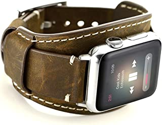 Leotop Compatible with Apple Watch Band 44mm 42mm Men Women Genuine Leather Compatible iwatch Bracelet Wrist Strap Compatible Apple Watch Series 5/4/3/2/1 (Crazy Horse Cuff Coffee, 44/42mm)