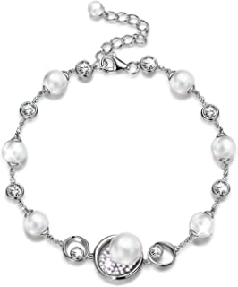 NINASUN Women Christmas Jewelry Gifts My Treasur Sterling Silver Bracelet/Necklace Aphrodite'S Pearl Fine Jewelry for Women Crystal Pearls from Swarovski