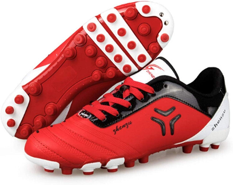 CELINEZL Soccer shones Zhenzu Outdoor Sporting Professional Training PU Short Nail Football shoes, EU Size  44(Red)