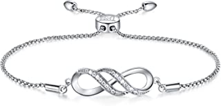 Women Girl Silver Infinity Endless Love Symbol Charm Bracelet Jewelry Gift with Sparking Crystal Bangle Bracelets for Friendship/Sister/Mother/Daughter