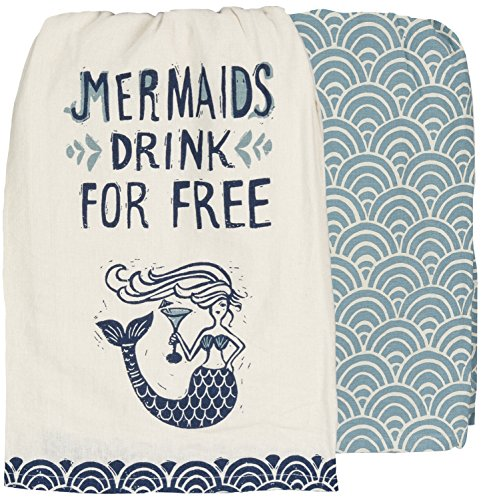 "Primitives by Kathy Mermaids Drink for Kitchen Towels Set of 2, Dish Towel with Mermaid Holding a Cocktail and a Coordinating Fish Scale Patterned Towel, 28"" Square Dishtowels"