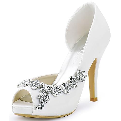 9a579df364ae4 ElegantPark Women s Peep Toe Platform High Heel Rhinestones Satin Evening  Prom Wedding Shoes