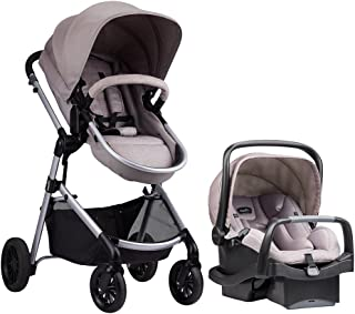 Evenflo Pivot Modular Travel System with SafeMax infant car seat, Sandstone, Black/Beige, 56021993C