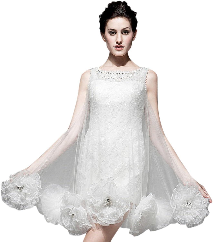 Dearta Women's Sheath Column Scoop Neck Short Mini Tulle Wedding Dresses