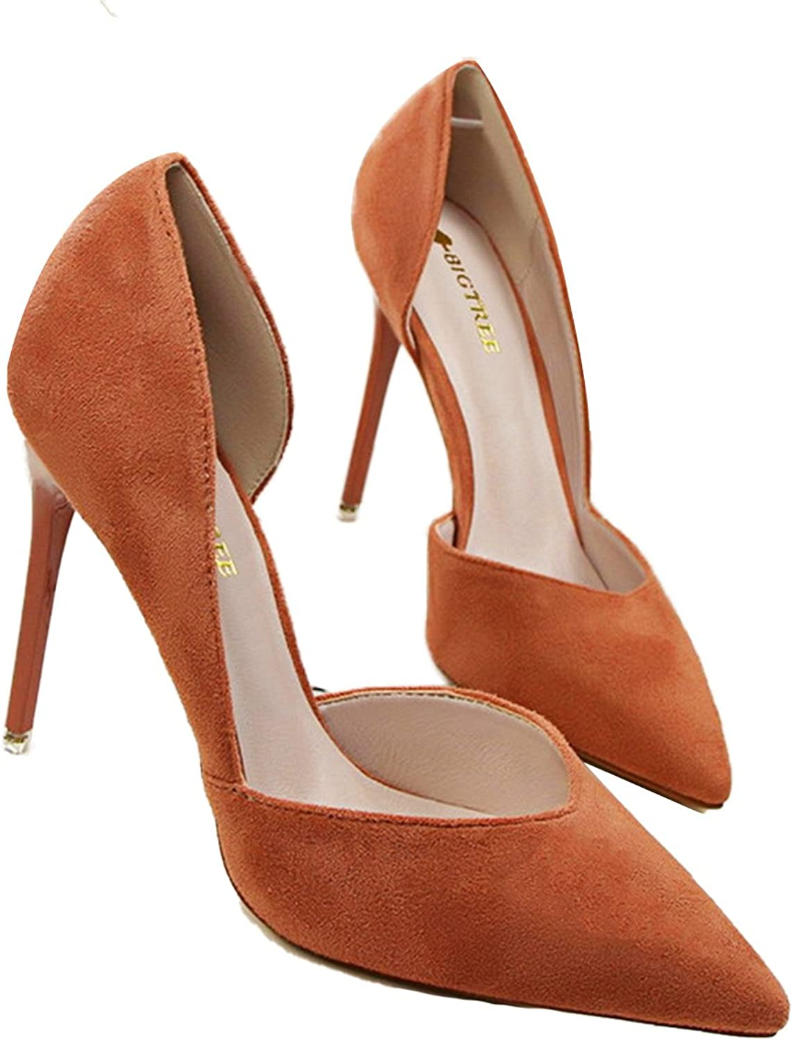 Owen Moll Women Pumps, Sexy Side Cut-Outs Shallow Solid Flock Pointed Toe Sandal shoes