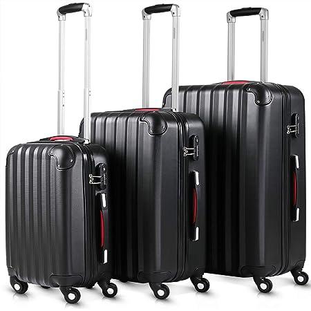 Lot de 3 valises rigides Noires M L XL 4 Roues 360° Poignée télescopique Verrou à Combinaison Set de Voyage Bagagerie