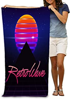 AXTUXDELL Bath Towels 80S Retro Sci Fi Futuristic Synth Wave in 1980S Posters Style Beach Towels 31.5
