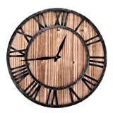 nannday orologio da parete con numeri romani, orologio da parete in ferro antico a forma rotonda in legno con decorazione per caffè