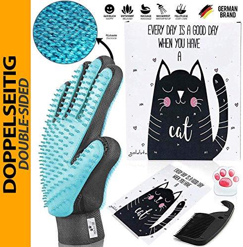 LÖWENKÖNIG TESTSIEGER - GOLDSTA Animals® Innovatives Haustier Bürstenhandschuh Set I Fellpflegehandschuh I Katzenbürste I Enthaarungs-Bürste Fellbürste für Hunde-Katzenhaare I Katzen-Zubehör I