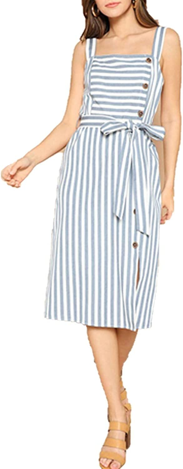Lost Stars Boho bluee Slit Hem Buttoned Striped Belted Summer Dress Women Pinafore Midi Straight Elegant Dresses