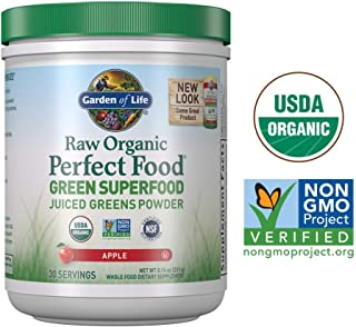 Garden of Life Raw Organic Perfect Food Green Superfood Juiced Greens Powder - Apple, 30 Servings (Packaging May Vary) - Vegan Gluten Free Whole Food Dietary Supplement, Plus Probiotics & Enzymes