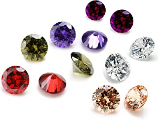 6PCS 15mm Mixed Color Cubic Zirconia Stones, STINO Loose Gems Round CZ Diamonds for Crafts, Gemstones Crystals Simulated G...
