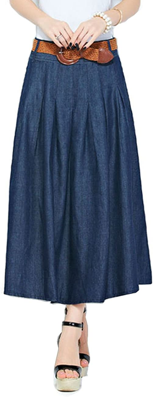 Yimidear Casual Pleated Denim Long Skirt, Slim A-line Big Swing Mid-Long Denim Skirt