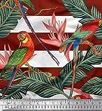 Soimoi Rot Satin Seide Stoff Tropische Blätter, Streifen &