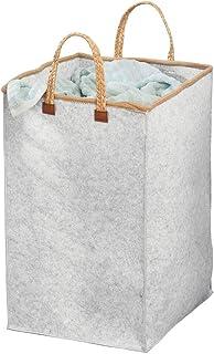 mDesign panier à linge pliable en tissu – sac pour lessive pour la chambre, buanderie, salle de bain, etc.– trieur de ling...