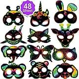 Qpout 48pcs Masques à gratter Animaux pour Enfants, pour Enfants Fille Garçon...