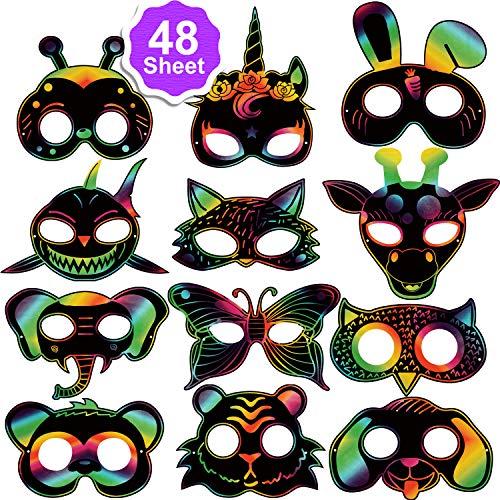 Qpout 48Stk. Scratch Art Masken für Kinder, Tiere Kratzbilder Masken Set mit Elastischen Kordeln und Holz Stylus für Kinder Geburtstag Ostern Halloween Weihnachten Spiel Geschenk Party Zubehör