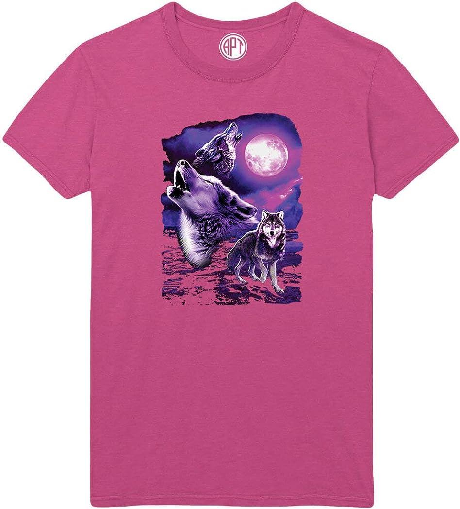 Fantasy Wolf Moon Neon Printed T-Shirt