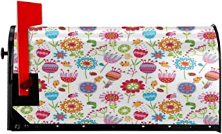 """Magnetic Mailbox Cover - 18""""W x 21""""H, Floral Arrangement with Many Wildflowers Birds and Bugs Happy Nature Inspired Image,Mailbox Wraps Post Letter Box Cover"""