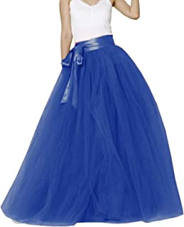 Women Long Maxi Puffy 5 Layers Tulle Skirt Floor Length A Line with Bowknot Belt High Waisted for Wedding Party Evening
