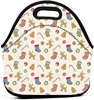 Travel Case Lunchbox with Zip Christmas,Traditional Sweets of Xmas Party Gingerbread Cookies Lollipop Candies with Socks,Multicolor,paw patrol insulated lunch bag for kids