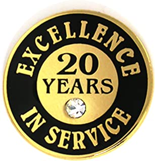 Gold Plated Excellence in Service 20 Year Award Lapel Pin