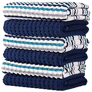 100% Cotton Kitchen Towel Set Popcorn and Stripe Weave Soft Absorbent  Quick Drying Multipurpose Kitchen Towels and Dishcloths Sets Tea Towels and Bar Towels 15x26 Pack of 6 Navy Blue Stripe and Solid