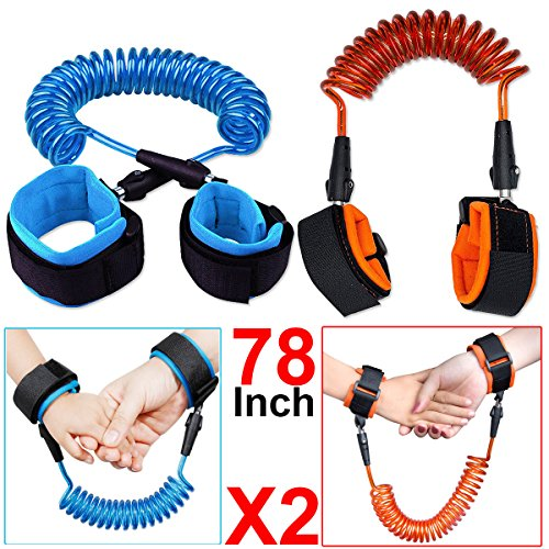 Blue Anti Lost Wrist Belt 2M Child Walking Strap Baby Reins Safety Strap Leash Wristband Hand Belt Toddler Child Kids Travel Cares Safety 360/°Rotate Elastic Wire Rope Fluorescent and Security Lock